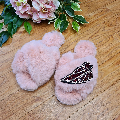 Fluffy Faux fur slippers Pink with leaf