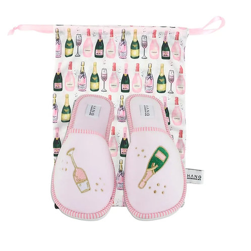 Champagne Foldable Slippers & pouch