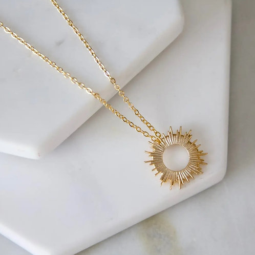 Sun  Necklace 24k Gold Plated