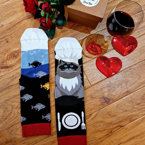 Combed cotton socks cat