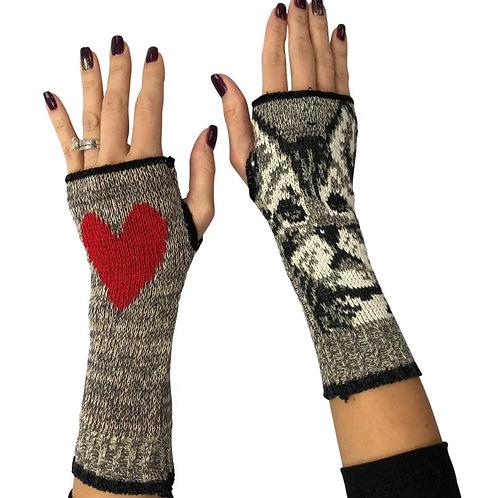 Women's Recycled Hand Warmer  Fingerless Gloves