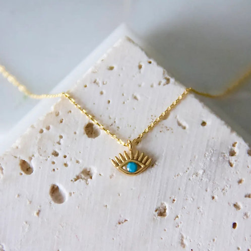 "Turquoise Evil Eye Necklace 16"""