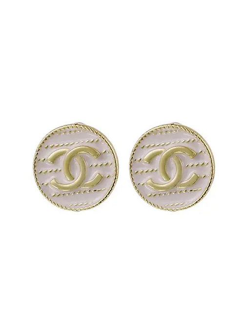 White Enamel Gold Double C Stud Earrings