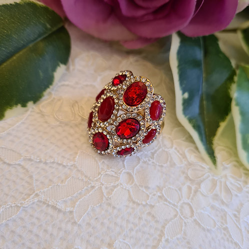 Diamonte Red ring One Size
