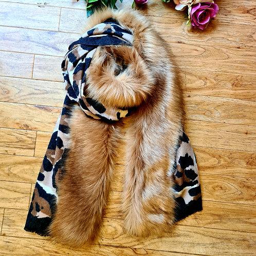 Animal Print Wrap Scarf with Fur Collar
