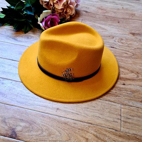 Yellow Mustard 100 %wool felt fedora hat