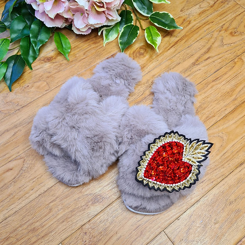 Grey Fluffy Faux fur slippers with ❤