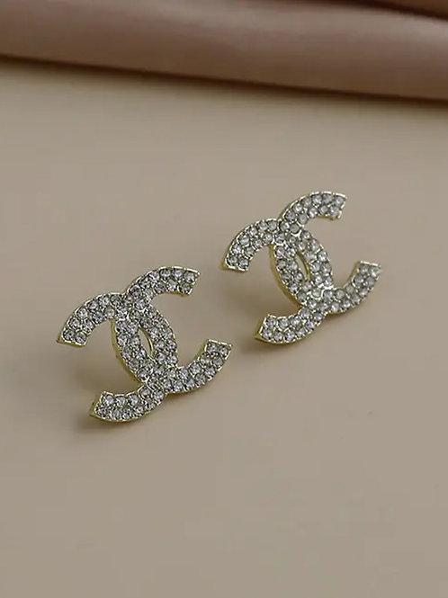 Double C Swarovski Stud Earrings