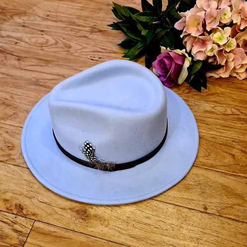 Baby Blue 100 %wool felt fedora hat