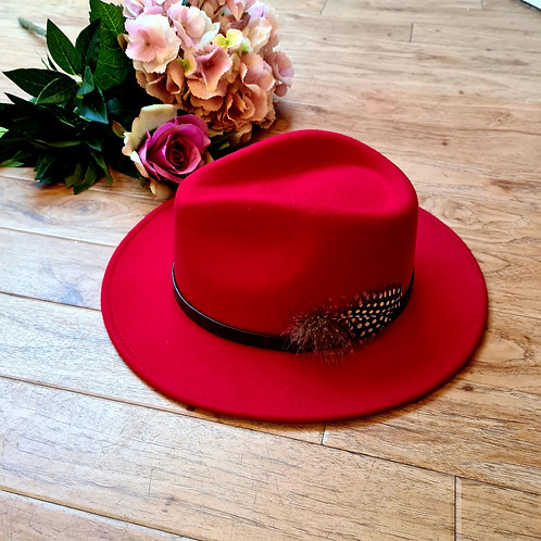 Red 100% wool fedora hat