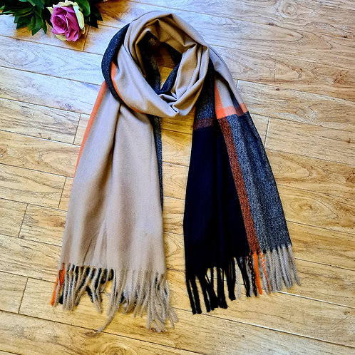 Soft brown and black scarf