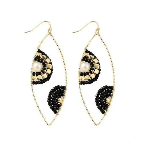 Beaded Black Gold Boho Earrings