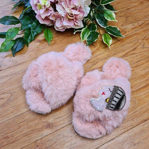 Fluffy Faux fur slippers with the lady