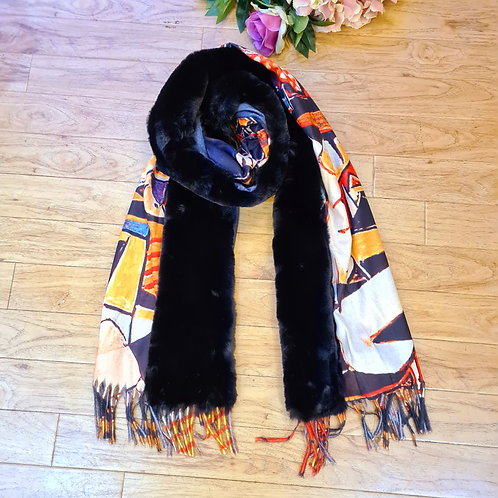 Picasso printed  cashmere scarf with fur collar