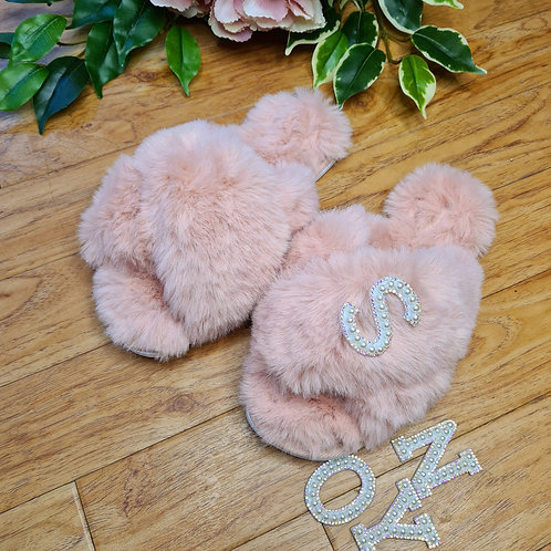 Personalised Fluffy Faux fur slippers with Initial Pink