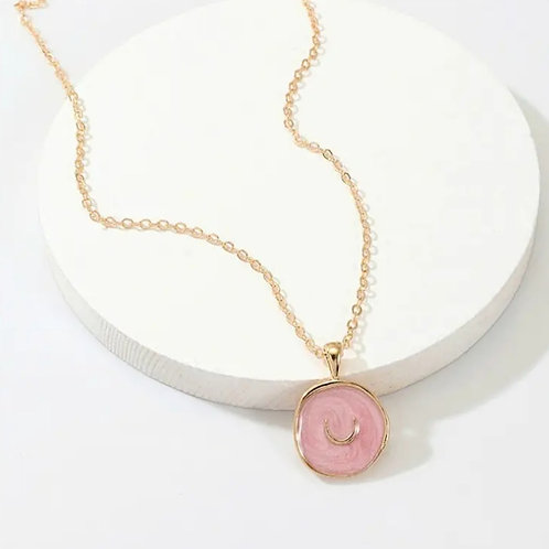 Pink Lucky Charm Enamel Necklace