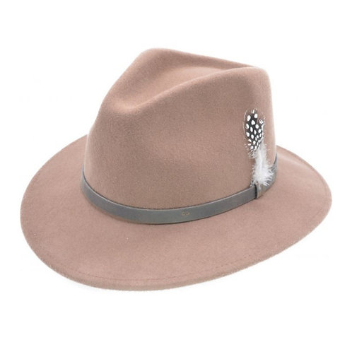 Camel 100 %wool felt fedora hat