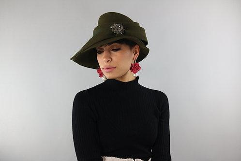 Italian Khaki Embellished 100% Wool Hat