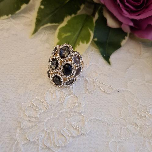 Diamonte Black ring One Size