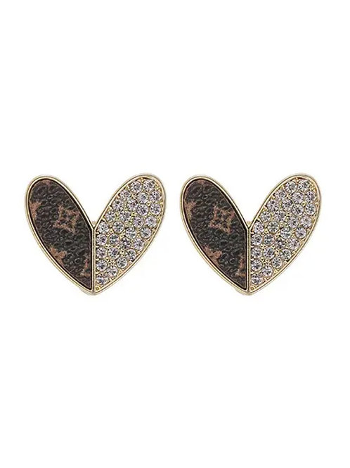 UPCycled Genuine LV Leather Heart Earrings with Swarovski crystals