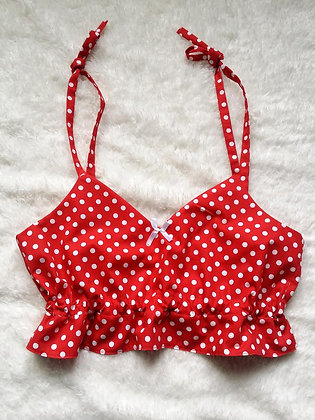 Polka Dot Cropped Pyjama Top
