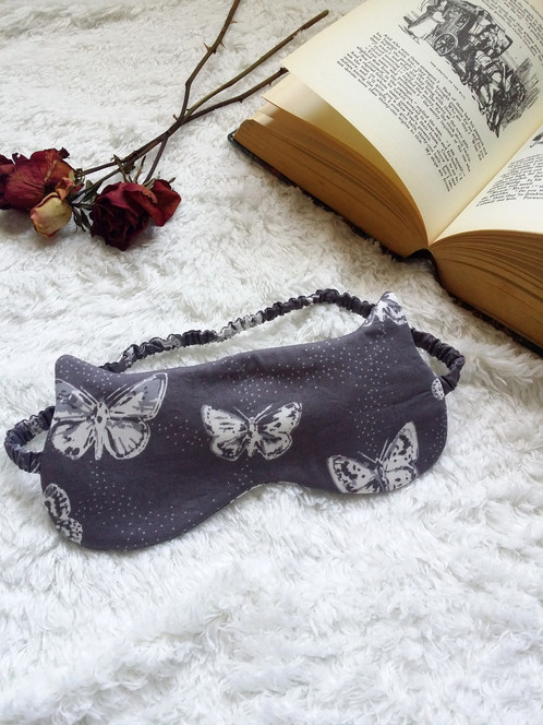 9349f48be A grey butterfly print bralette and knickers lingerie gift set with a  matching sleep mask.