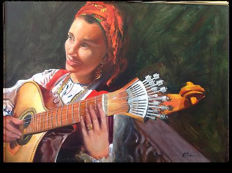 "Pintura a óleo ""Cantora de Fado"""