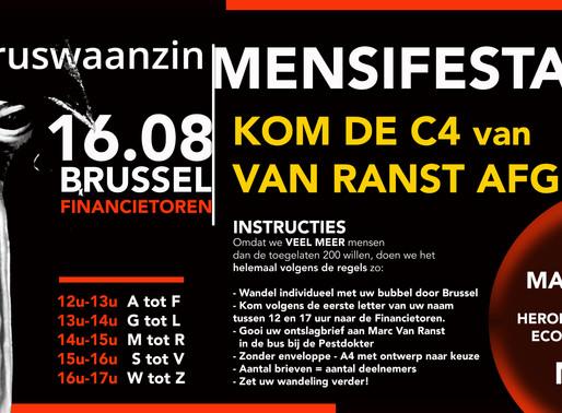16.08: Doe mee! Mensifestatie van viruswaanzin in Brussel!