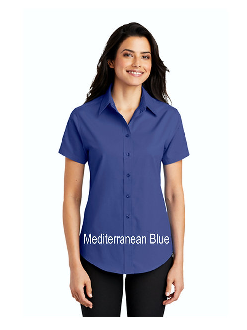 Ladies Easy Care Woven Short Sleeve Shirt