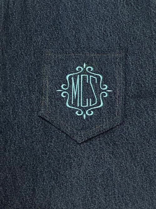 Monogram Back Pockets Scroll Form