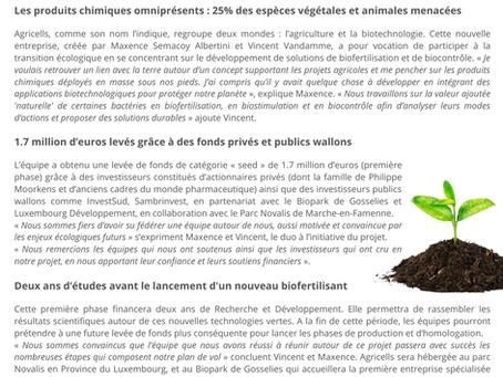 """""""Green tech"""" : Agricells lance 2 ans de R&D pour des biofertilisants"""