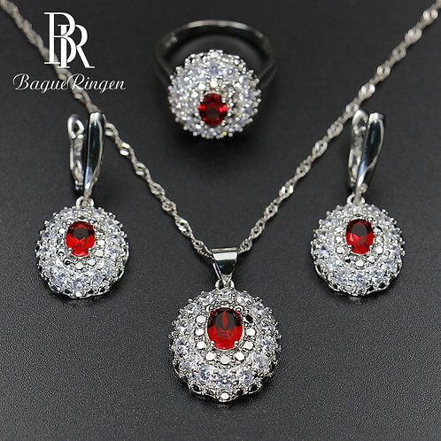 925 Sterling Silver Sets Women's Jewelry Gemstones