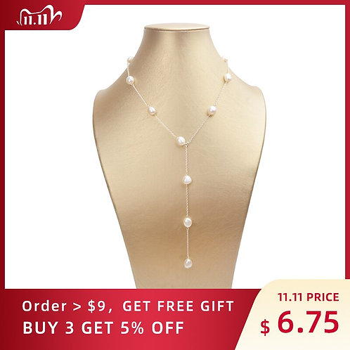 ASHIQI 925 Sterling Silver Long Chain Necklace