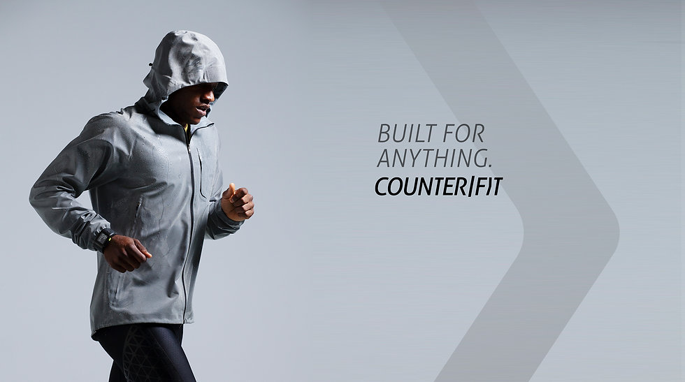 Man with running jacket ad