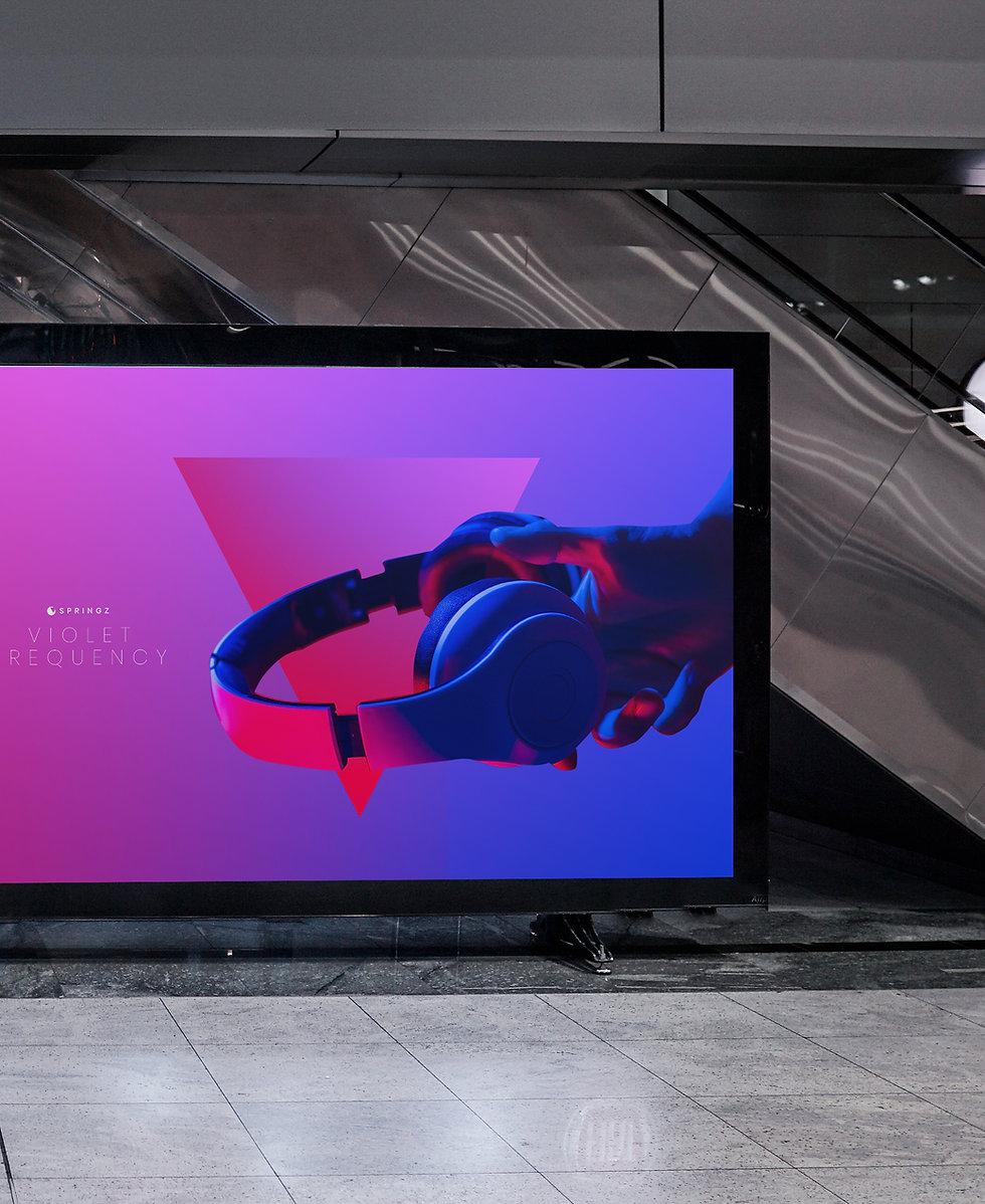 Headphones ad on a screen