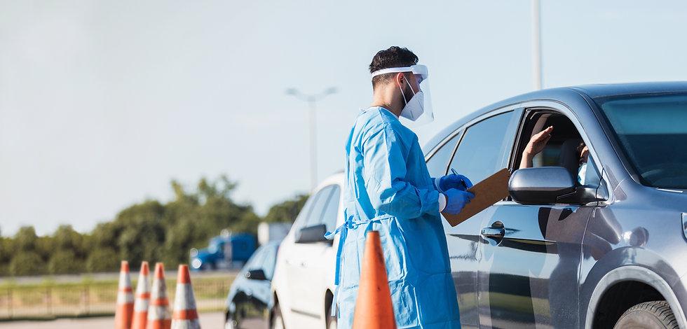 Covid test at roadblock