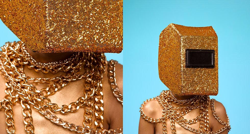 Figure with glitter helmet