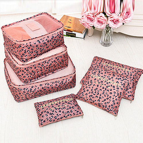 Pink Leopard Print Travel Packing Cubes