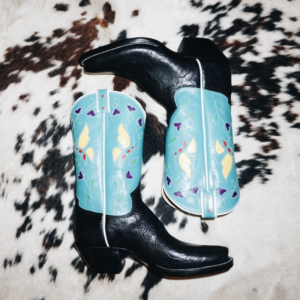 Vintage Butterfly Cowboy Boot