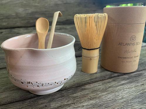 Matcha Gift Set- Pink Heart Bowl