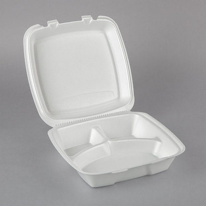 Styrofoam Take Out Boxes with Hinged Lids