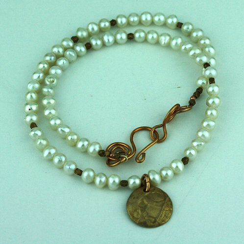 Freshwater Pearl Necklace with Bronze Pendant