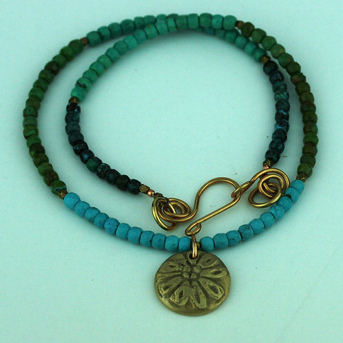 Faceted Turquoise Necklace with Bronze Pendant
