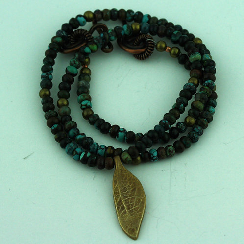 Turquoise Necklace with Bronze Leaf Pendant