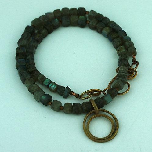 Labradorite Cubes Necklace with Bronze Pendant