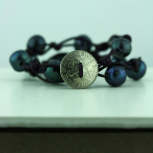 Coin Bracelet with Purple Pearls