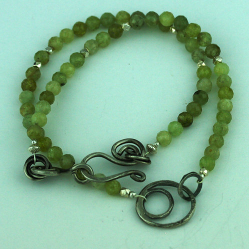 Peridot Necklace with Silver Loops Pendant