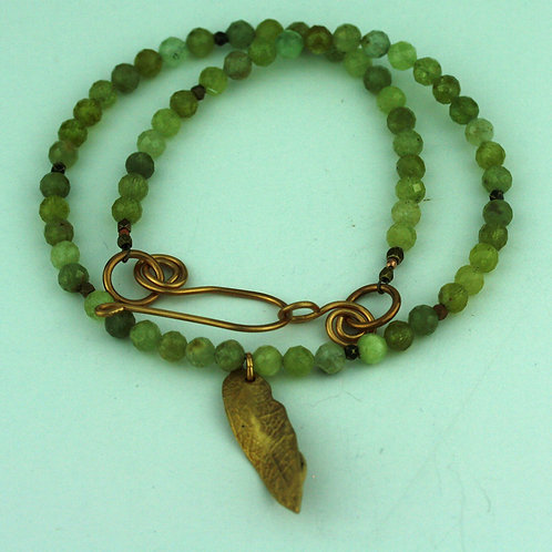 Peridot Necklace with Bronze Leaf Pendant