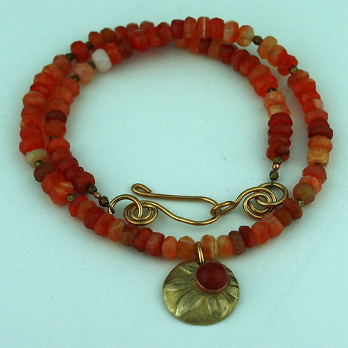 Botswana Agate Necklace with Bronze Pendant