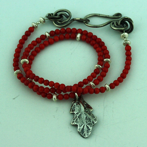 Red Coral Necklace with Silver Leaf Pendant